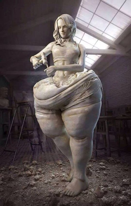 funny-stone-fat-woman-sculpting-herself