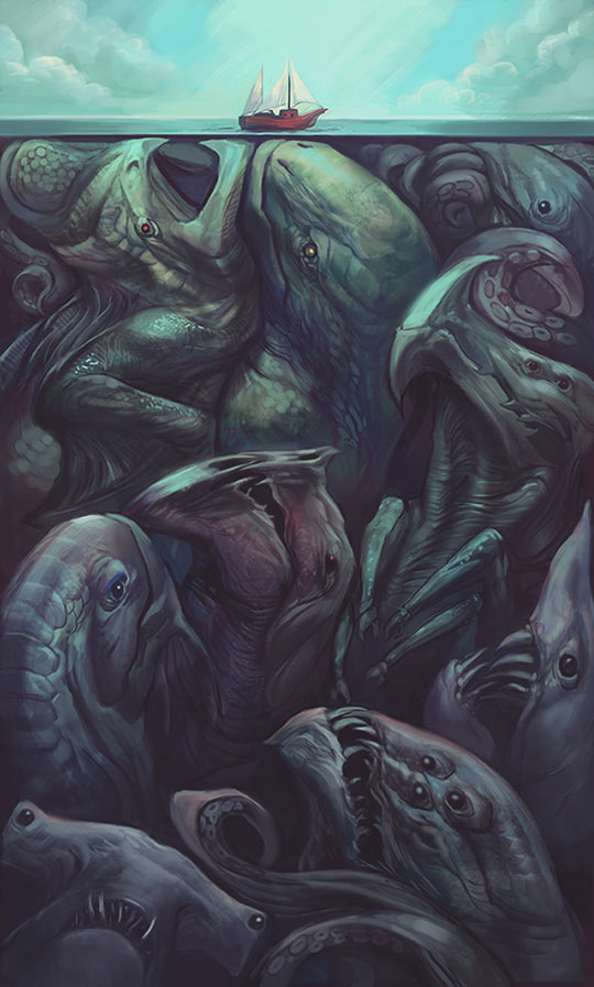 funny-drawing-sea-monsters-under-water
